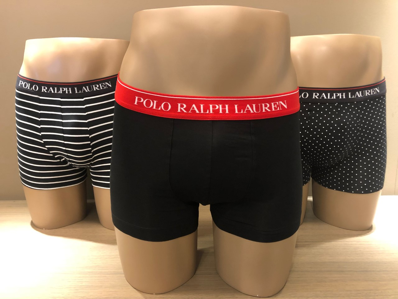 Ralph Lauren Boxers 3-Pack, effen+streepjes+dots