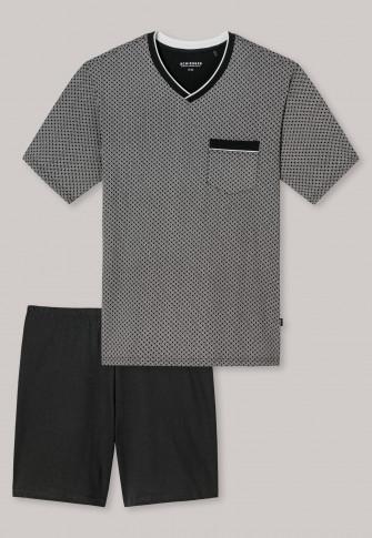 Schiesser Herenpyjama-short V- hals, print