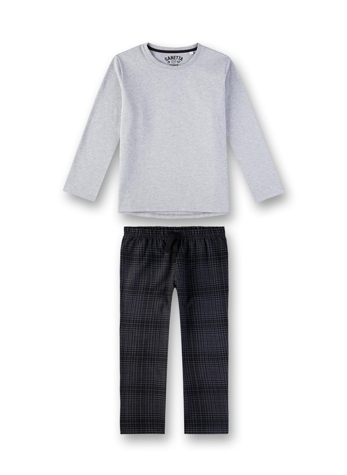 Sanetta Jongenspyjama effen t-shirt + broek ruiten