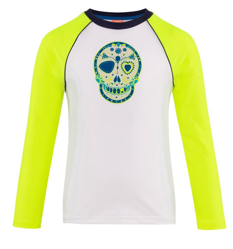 Sunuva Jongens T-Shirt LS, Skull, Fluo Mouwen
