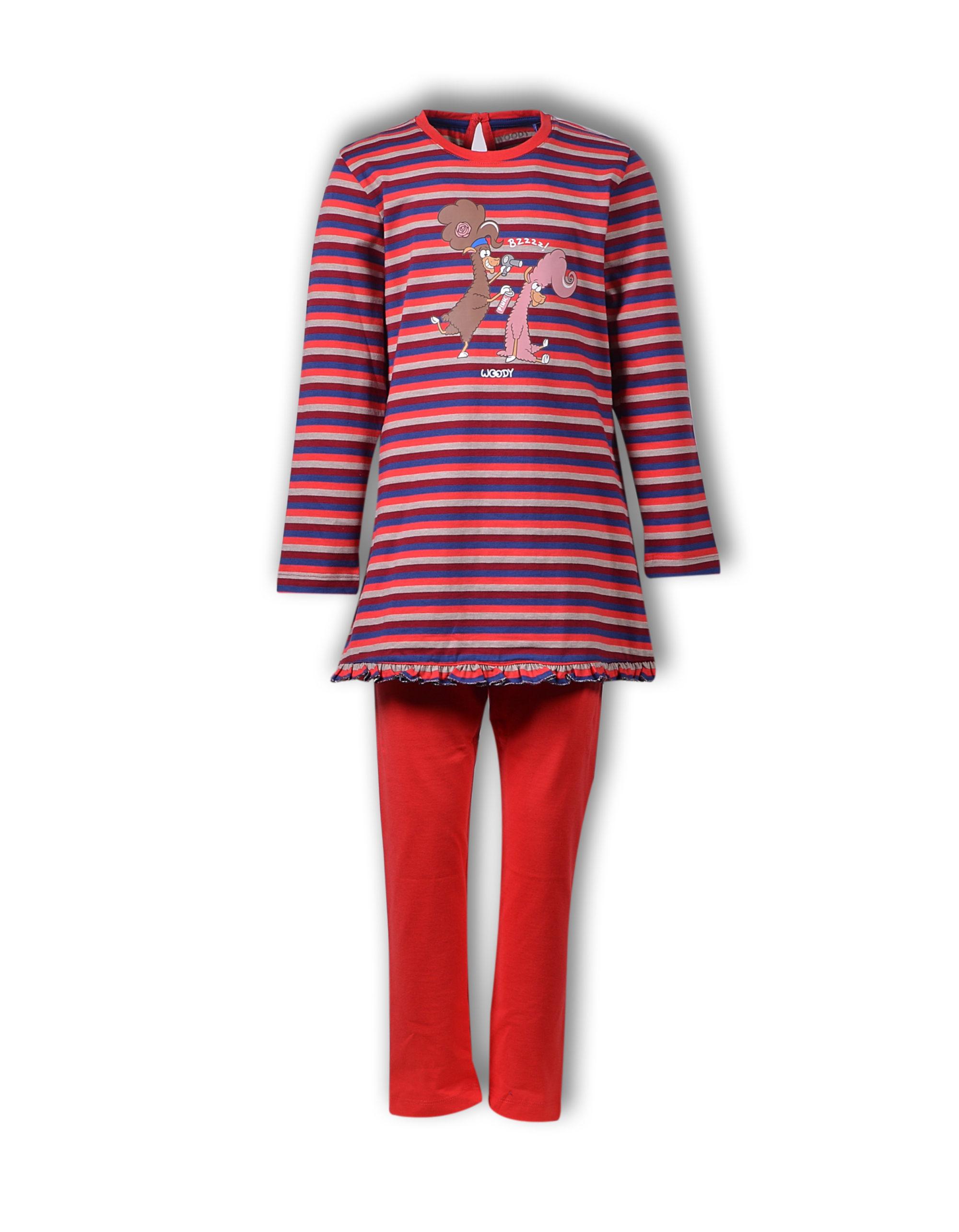 Woody Meisjes-Dames Pyjama, Gestreept, Alpaca