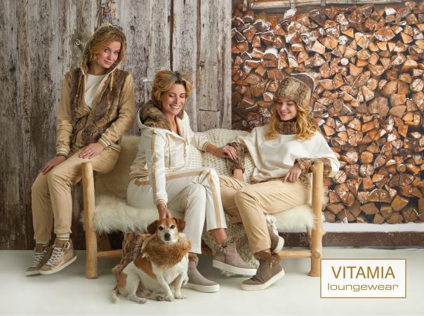 Vitamia Sweater met kraag bont + legging suede