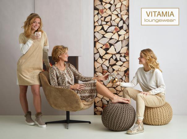 Vitamia Sweater ecru boordje goud + broek suede