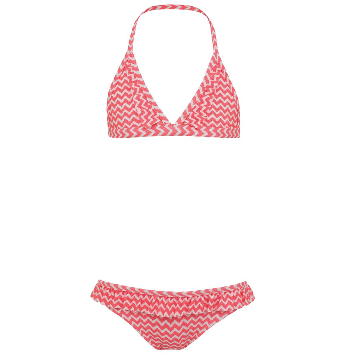 Sunuva Girlstriangle frill bikini batik fish