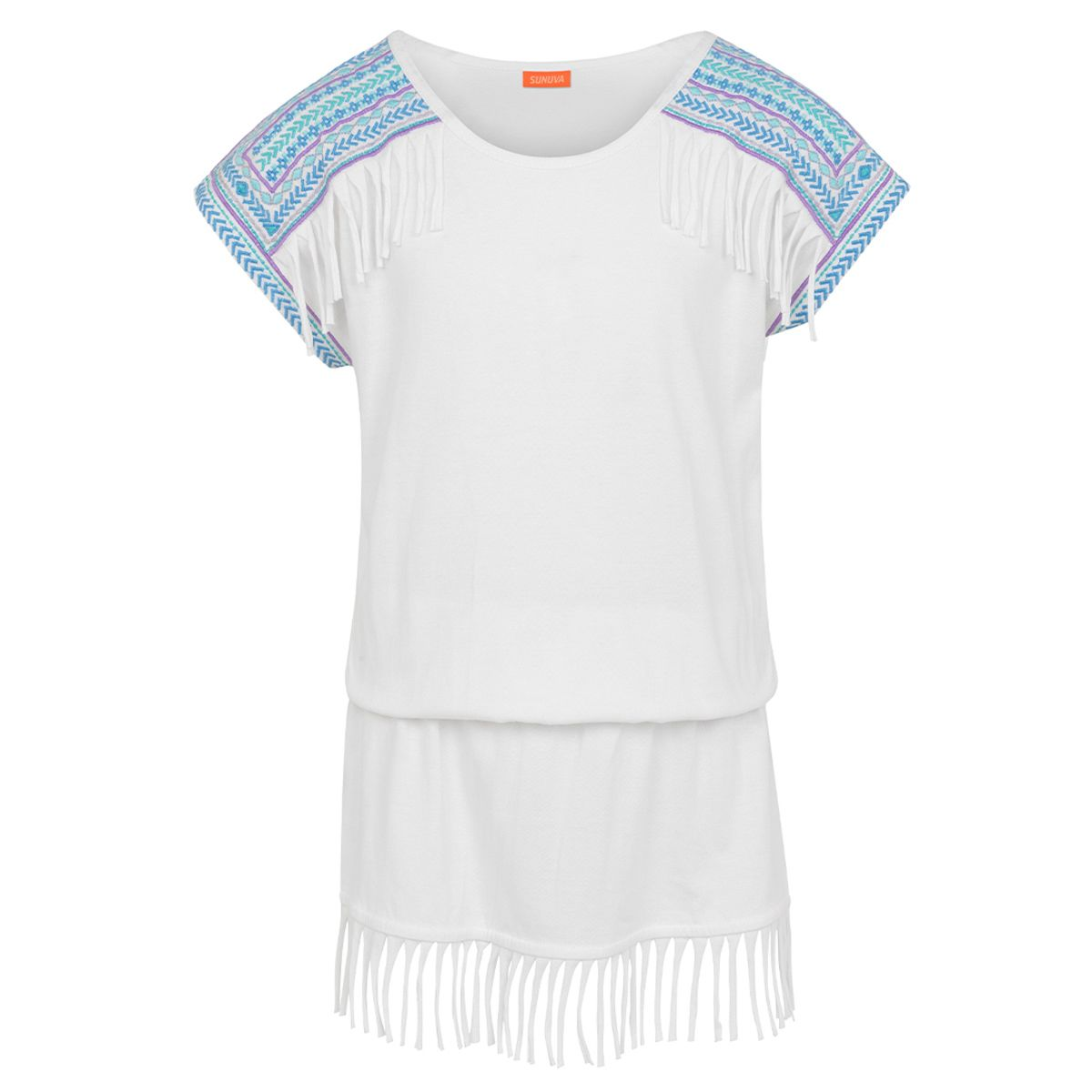 Sunuva Girls White embroidered jersey dress