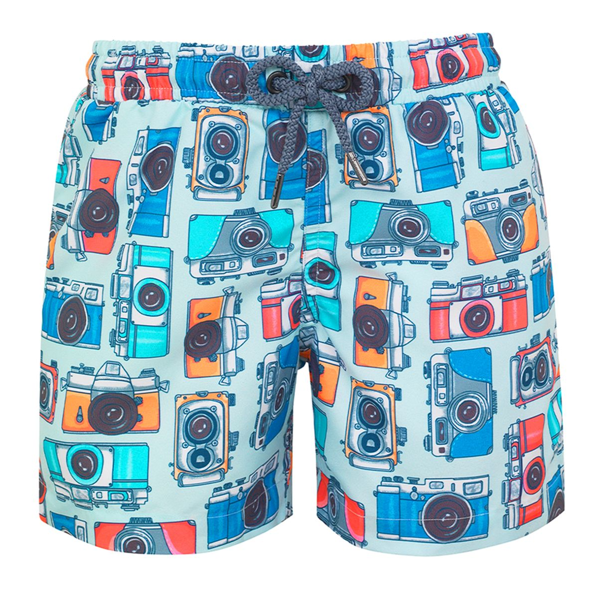 Sunuva Boys blue vintage camera swimshort