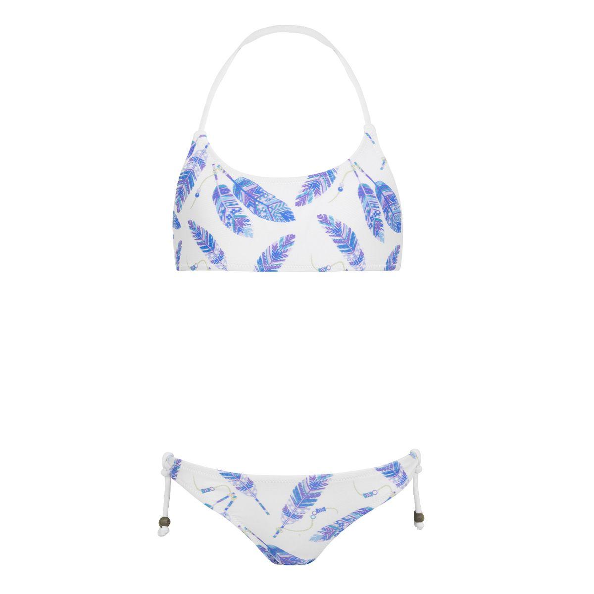 Sunuva Girls white feathers halter bikini