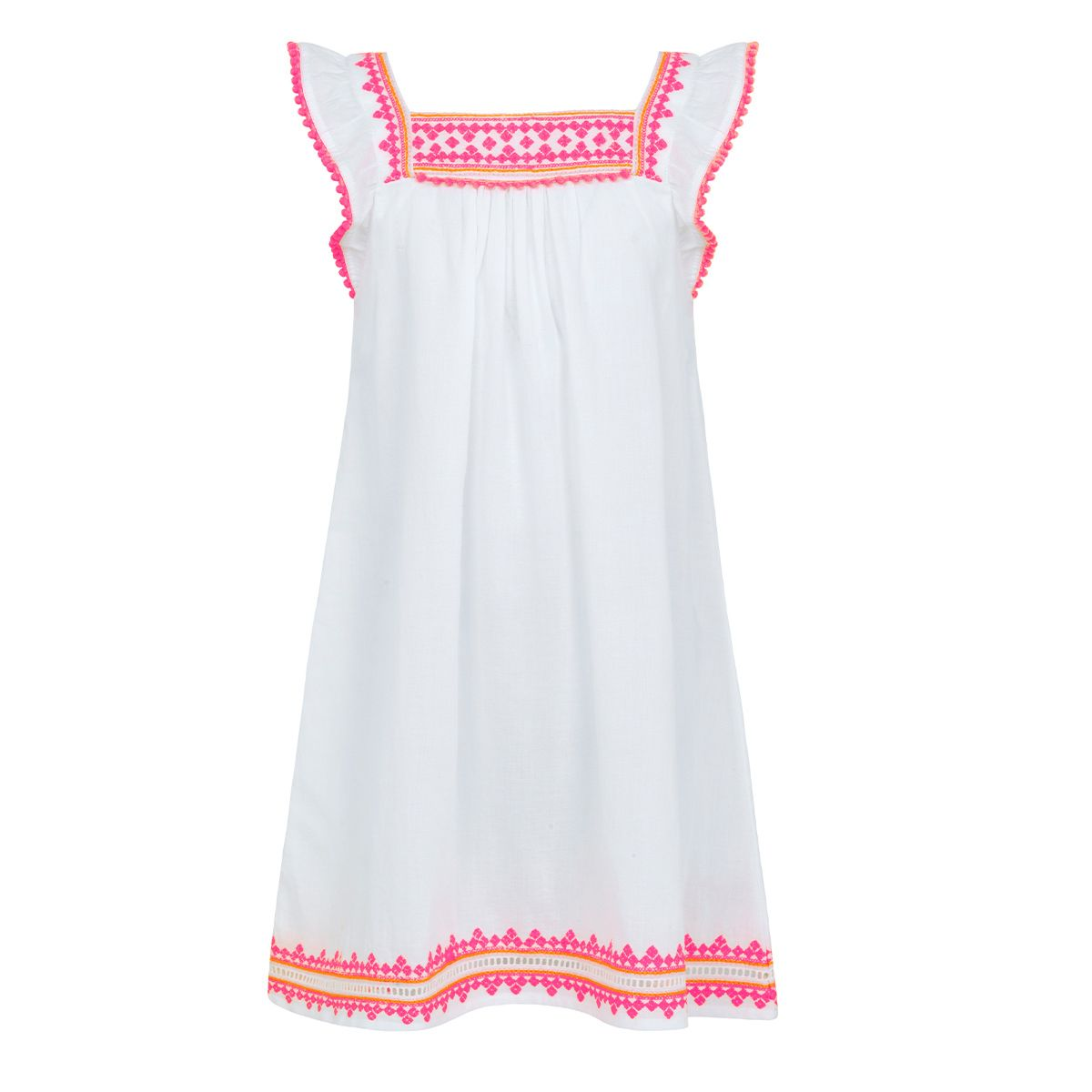 Sunuva Girls White embroidered flutter sleevedress