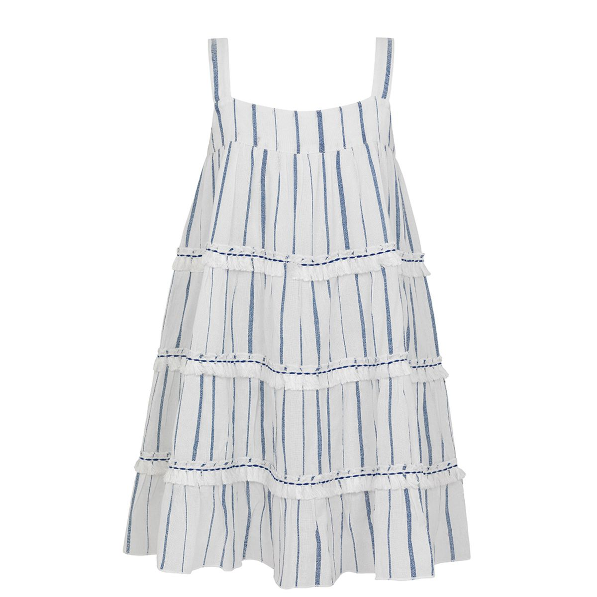 Sunuva Girls Blue stripe fringed tier dress