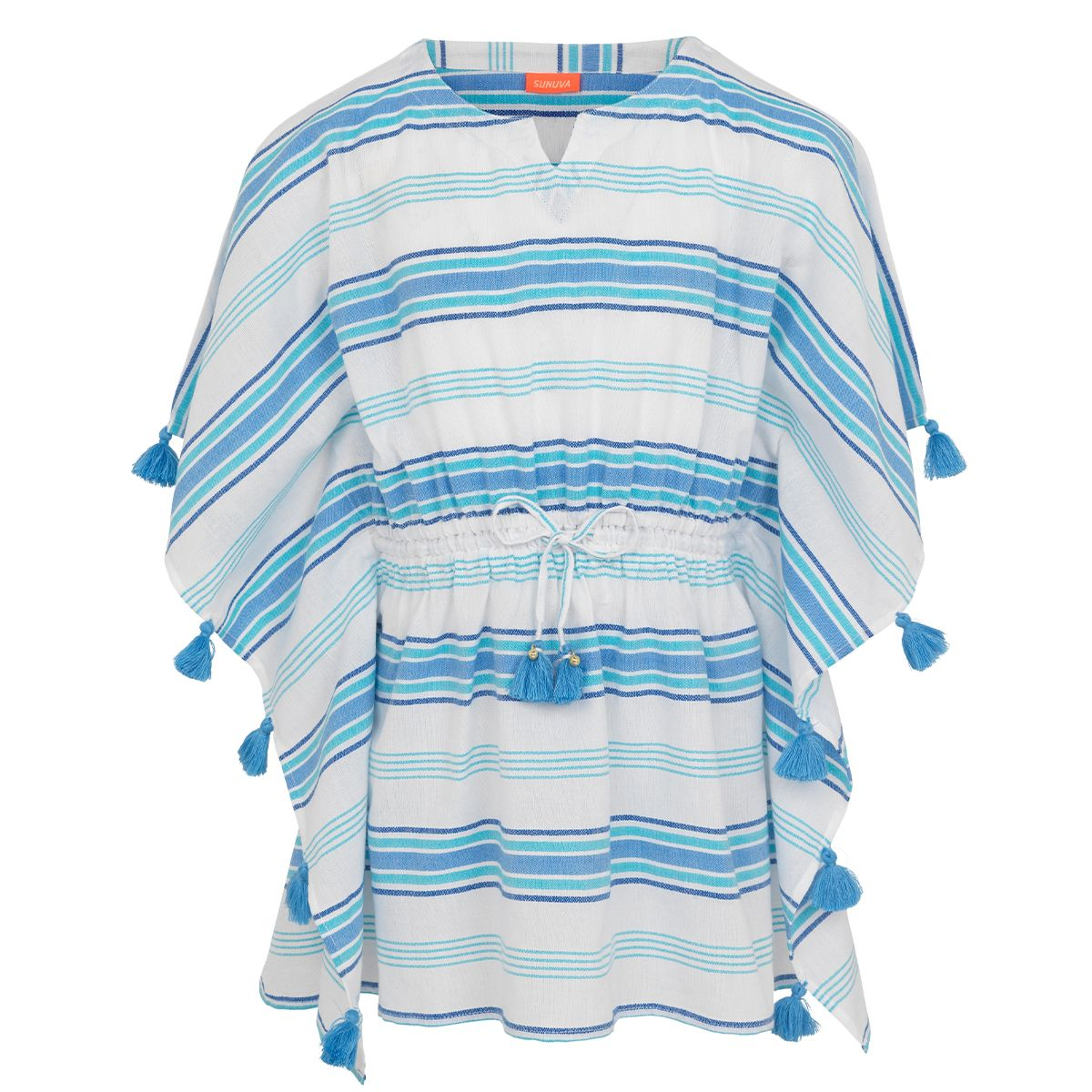 Sunuva Girls Blue stripe tassel kaftan
