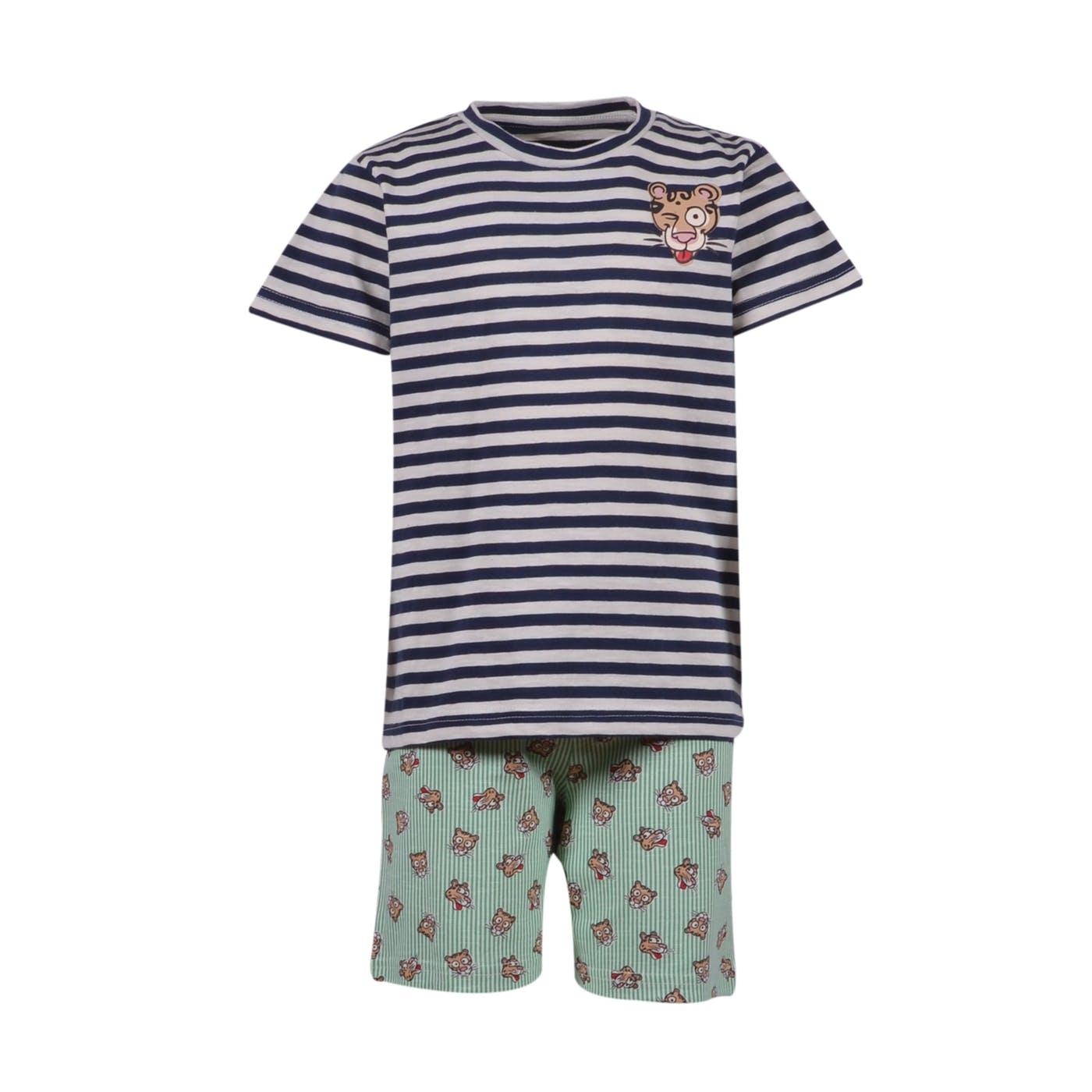 Woody Jongens-Heren pyjama, Marineblauw-wit gestre