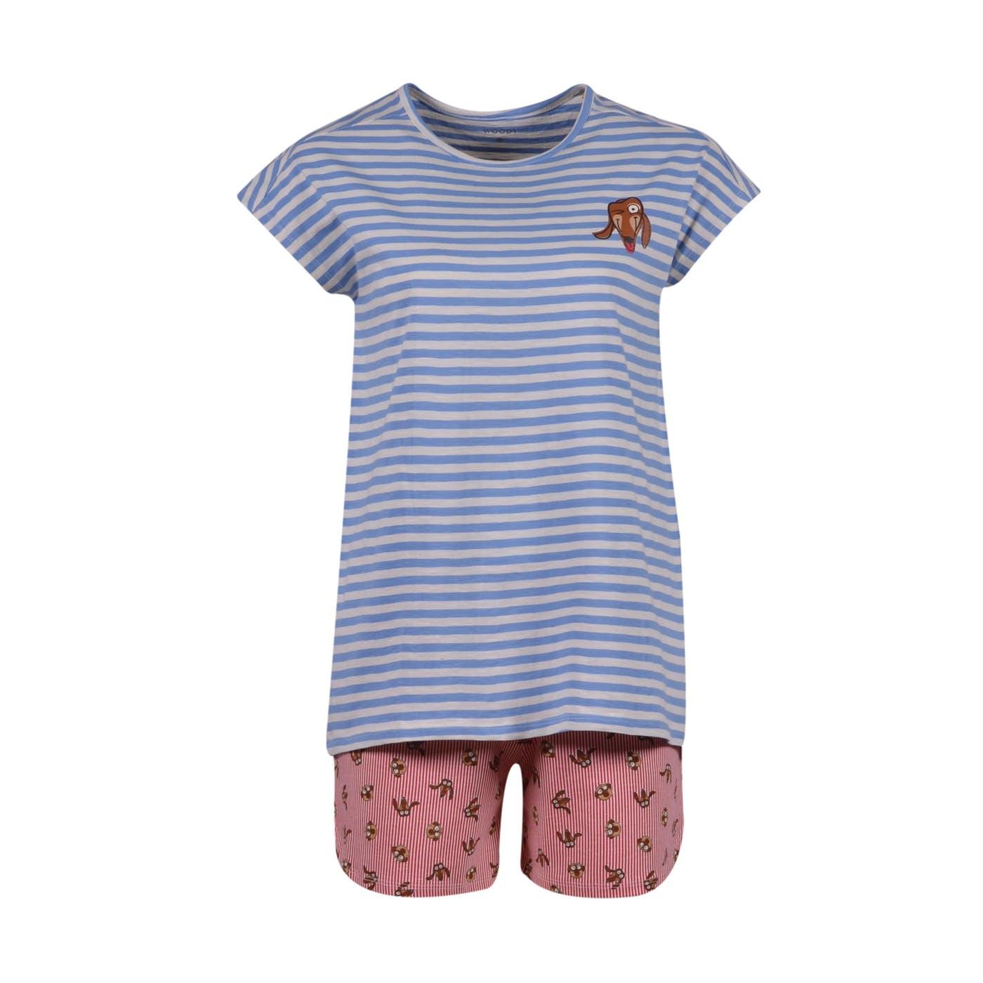 Woody Meisjes-Dames pyjama, lichtblauw-gebroken wi
