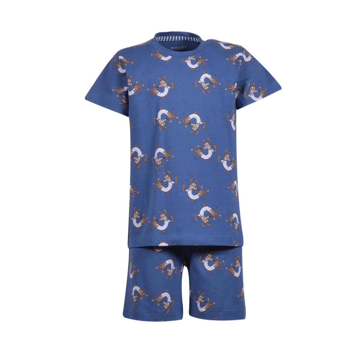 Woody Jongens-Heren pyjama, marineblauw met hond