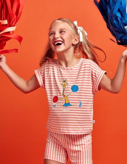 Woody Meisjes-Dames pyjama, koraal-wit gestreept