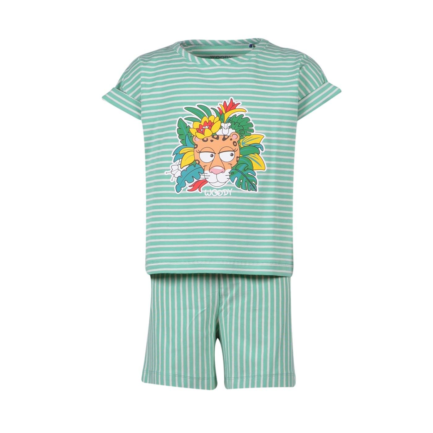 Woody Meisjes-Dames pyjama, jadegroen-wit gestreep