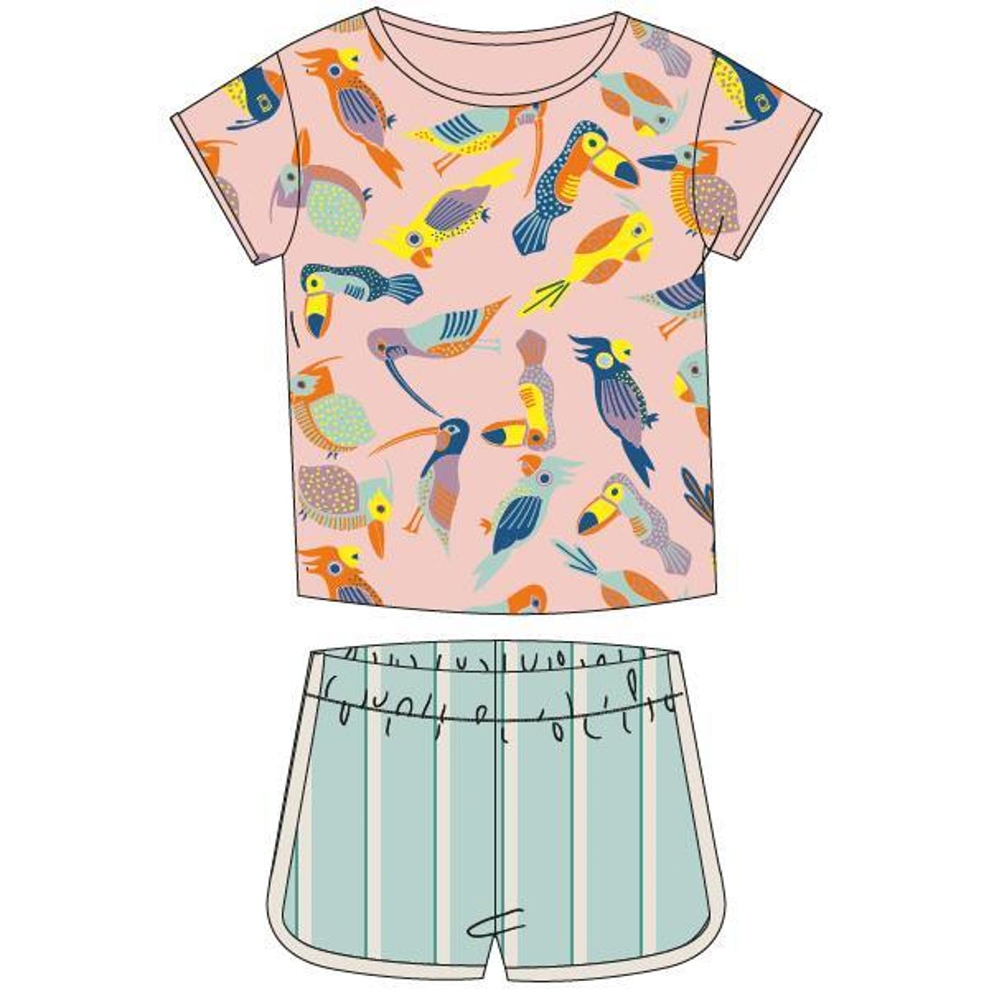 Woody Meisjes-Dames pyjama, vogels