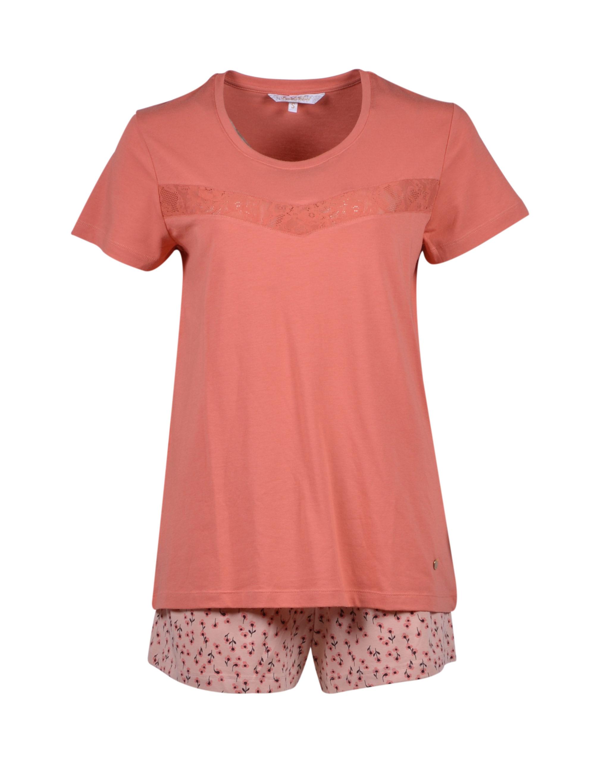 LORDS & LILIES Dames pyjama, abrikoosoranje