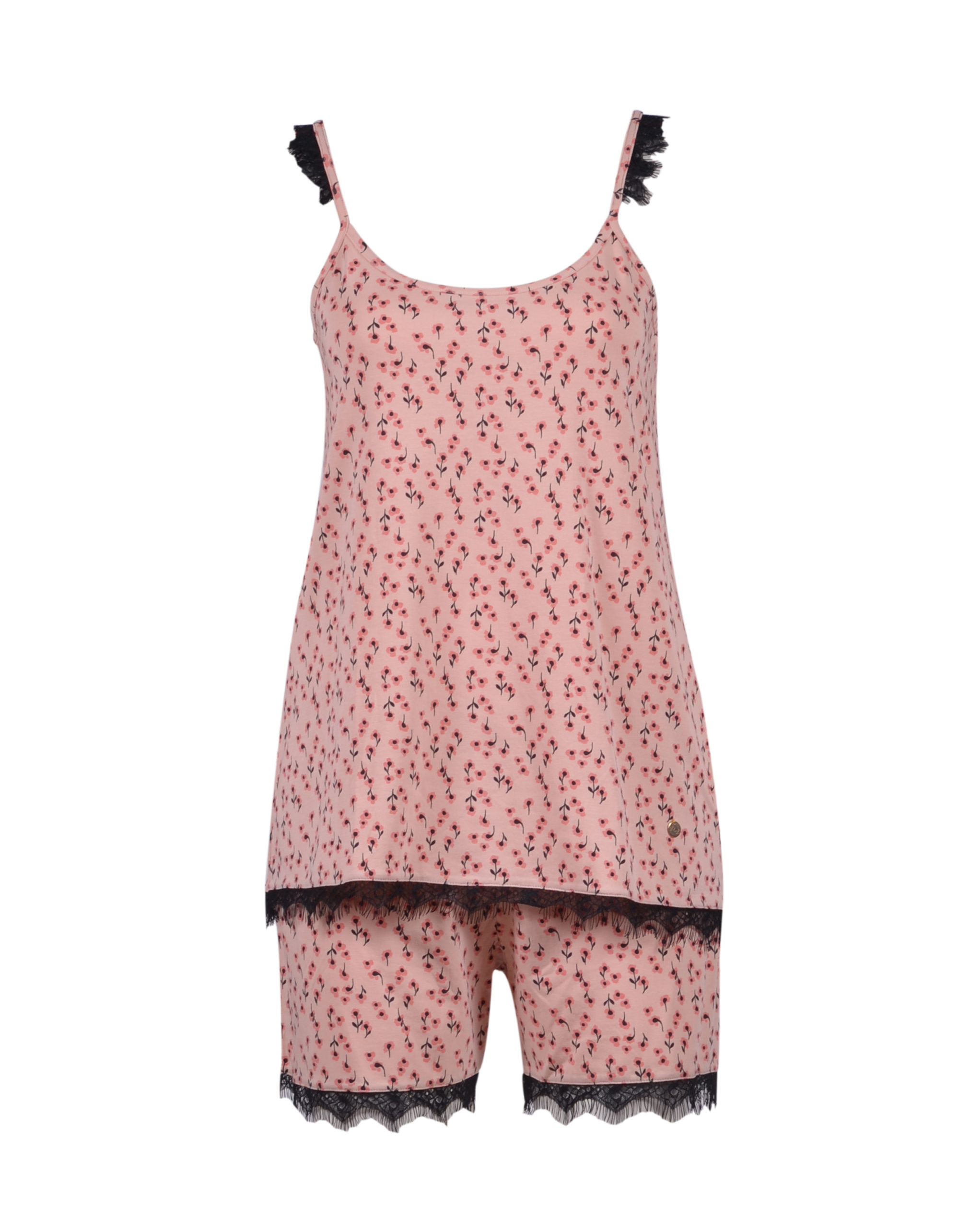 LORDS & LILIES Dames pyjama, abrikoosoranje bloeme