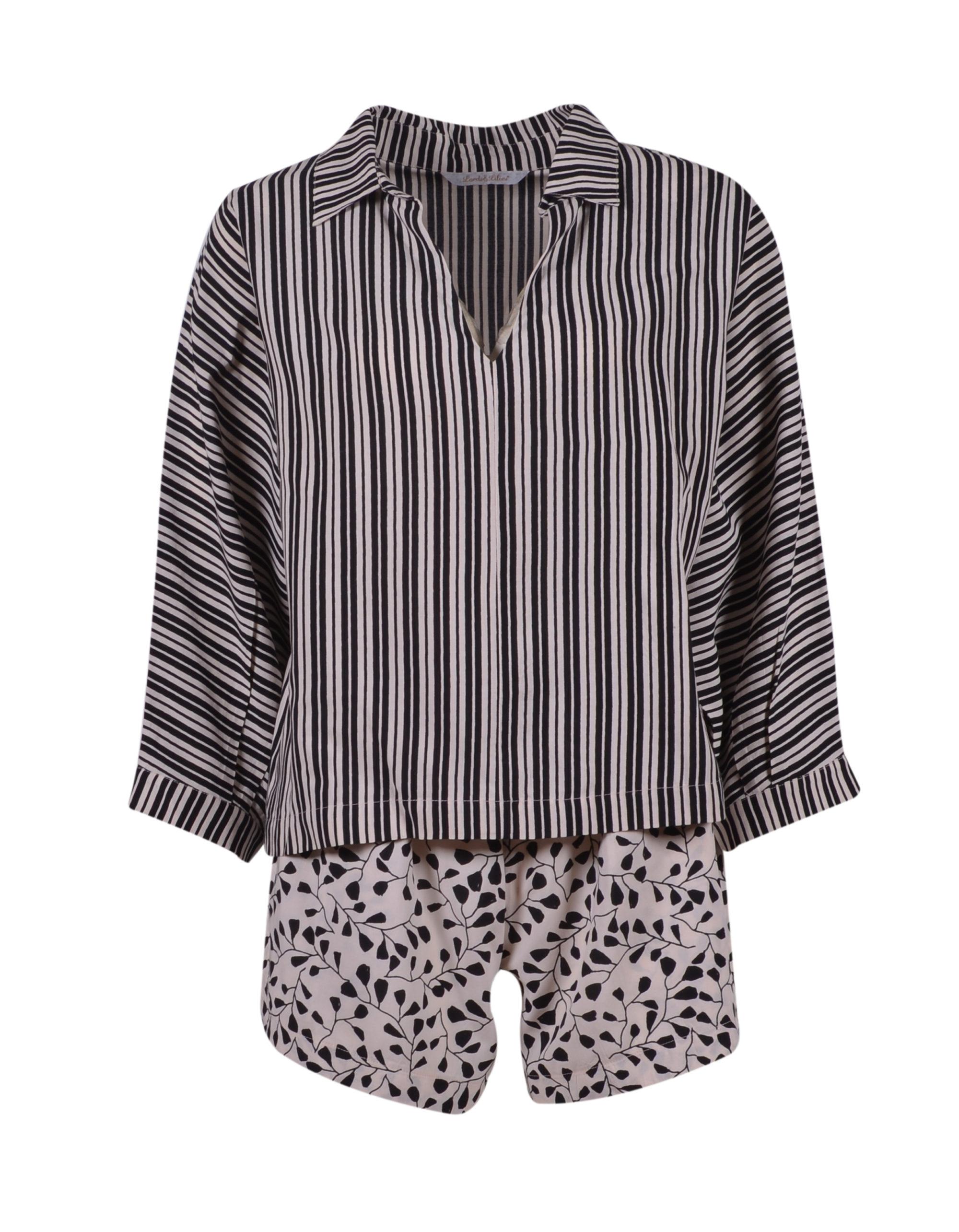 LORDS & LILIES Dames pyjama, zwart-gebroken wit ve
