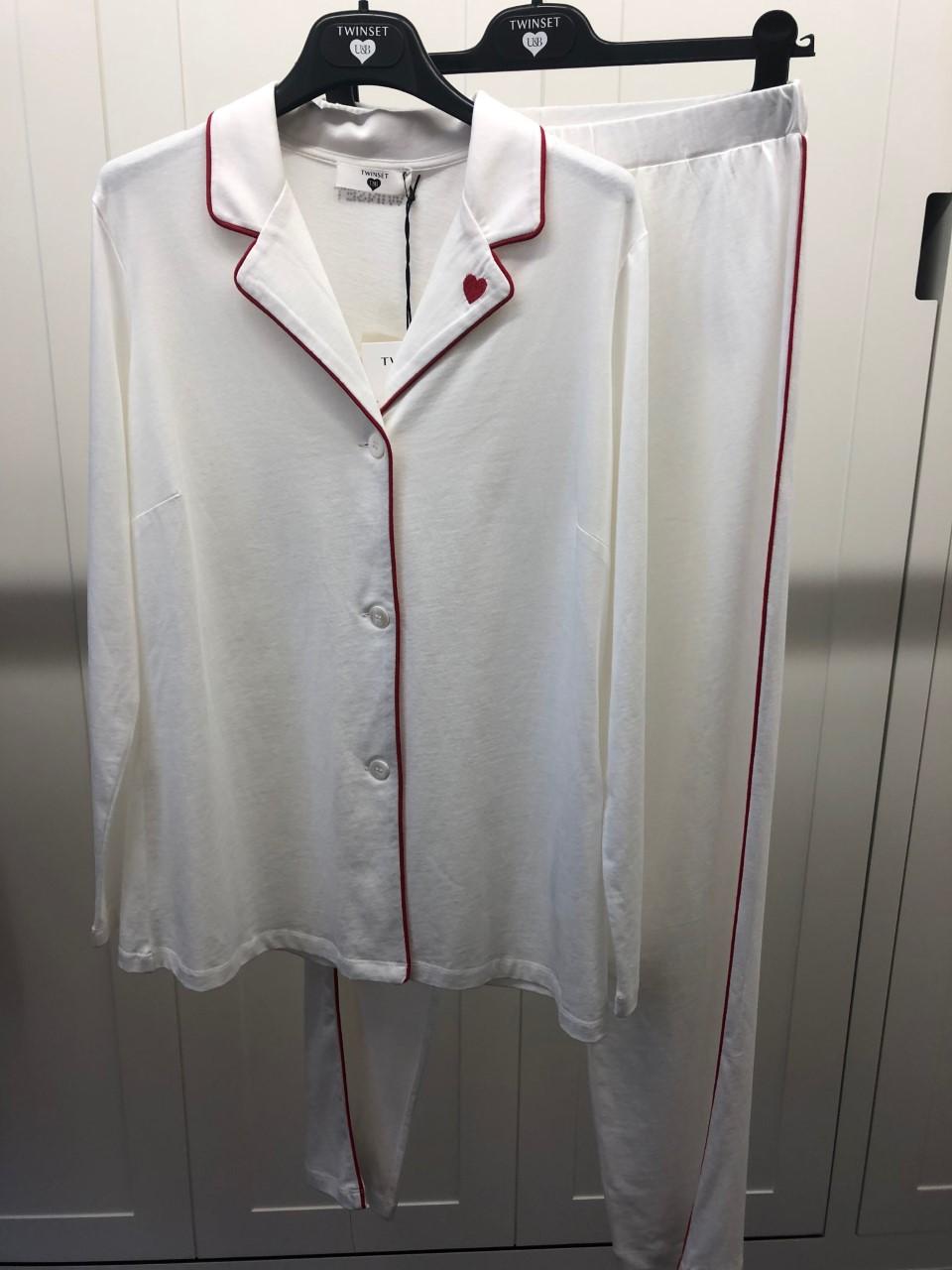 Twin-Set Damespyjama doorknoop biesje rood SS20