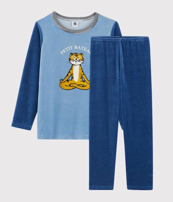 Petit Bateau Pyjama in fluweel met tijger