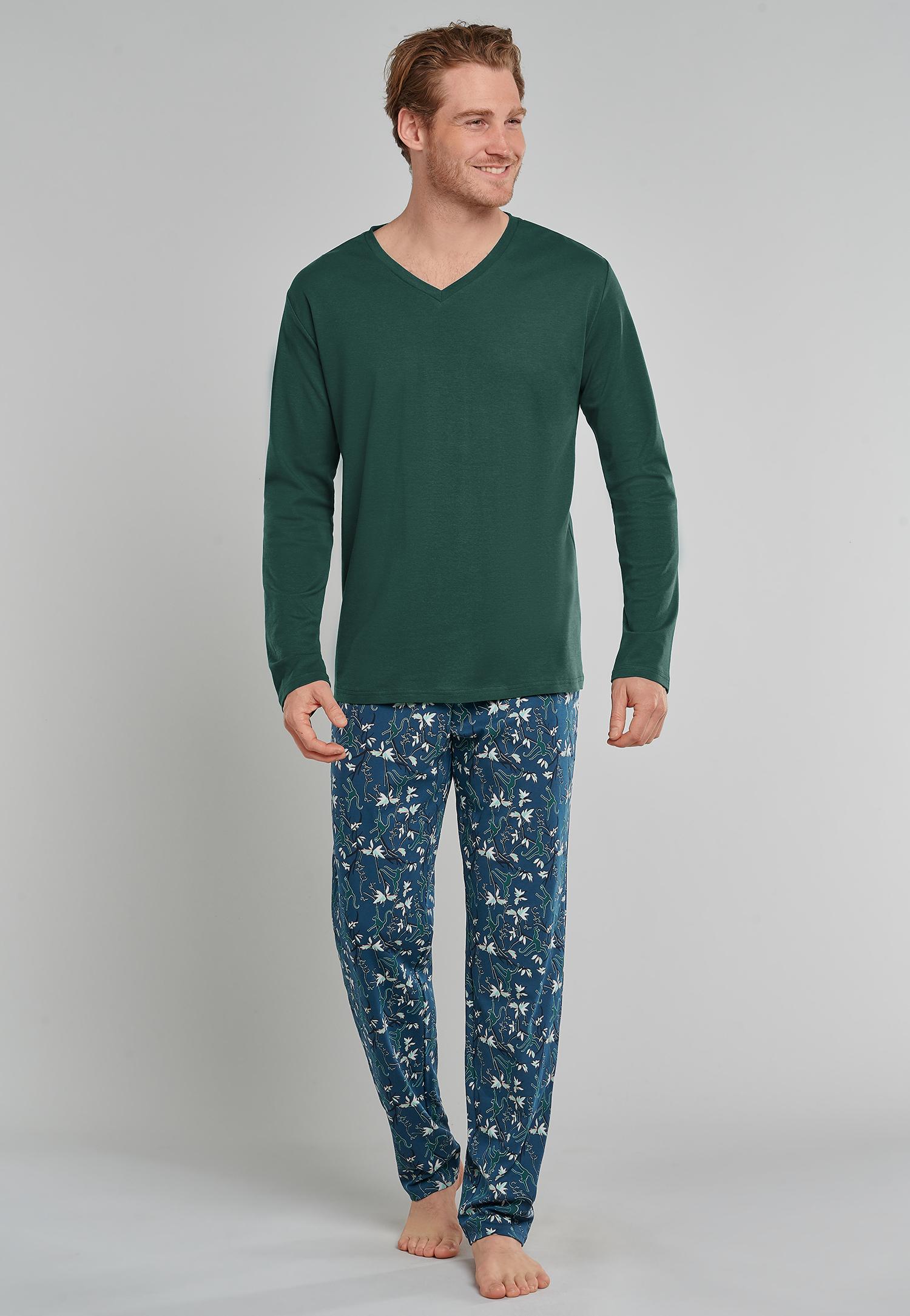 Schiesser Herenpyjama V-hals effen+ broek print