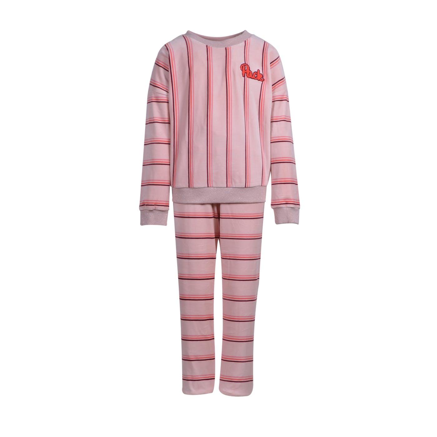 Woody Meisjes-Dames sweater en broek, roze