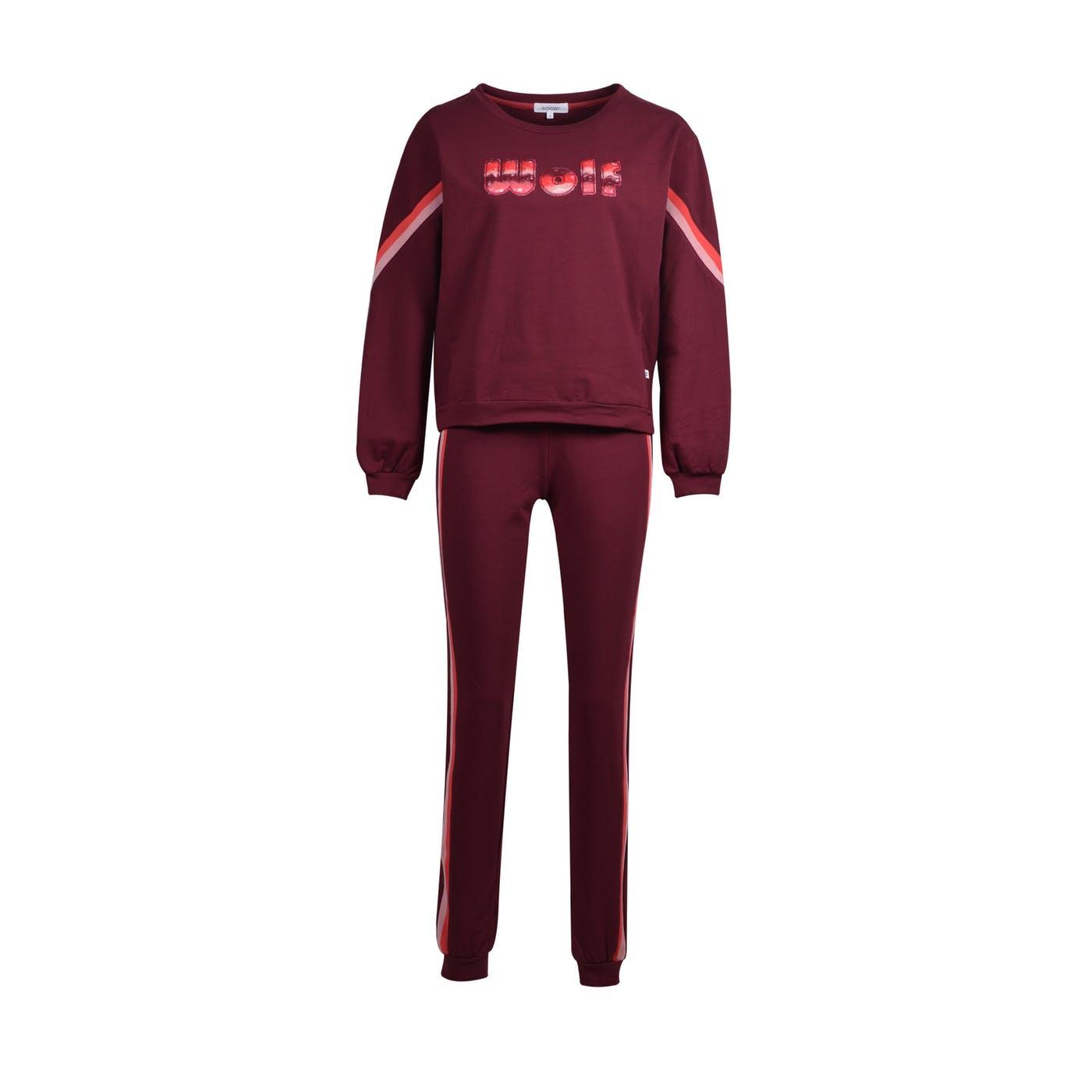 Woody Meisjes-Dames sweater en broek, bordeaux