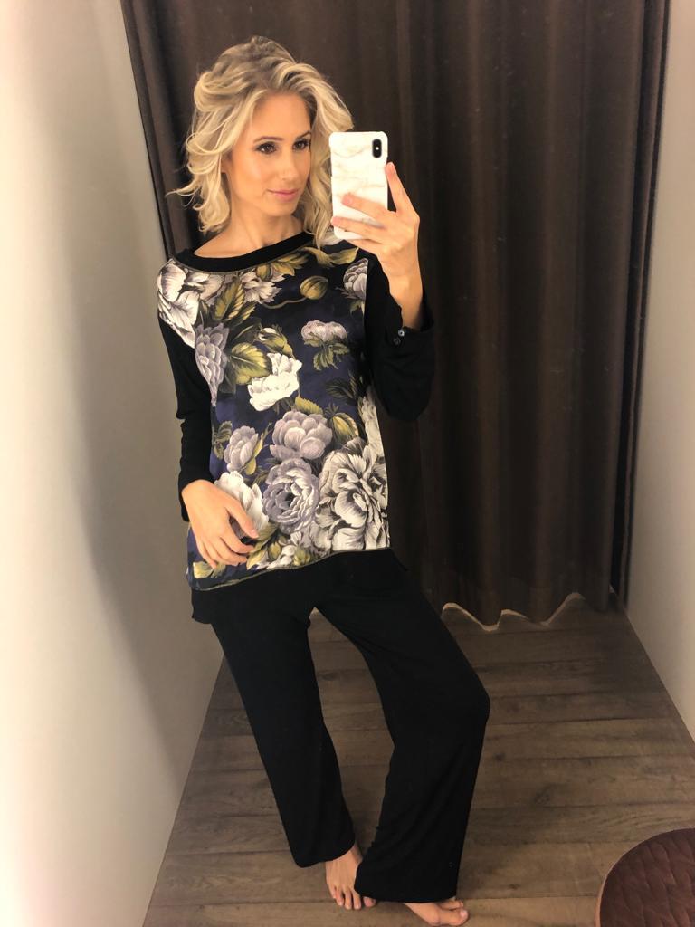 Paladini Pyjama zijde met bloemen
