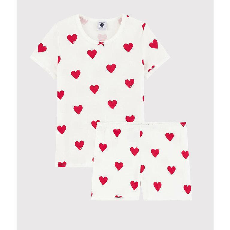 Petit Bateau Pyjama T-Shirt + Short, Hartjes