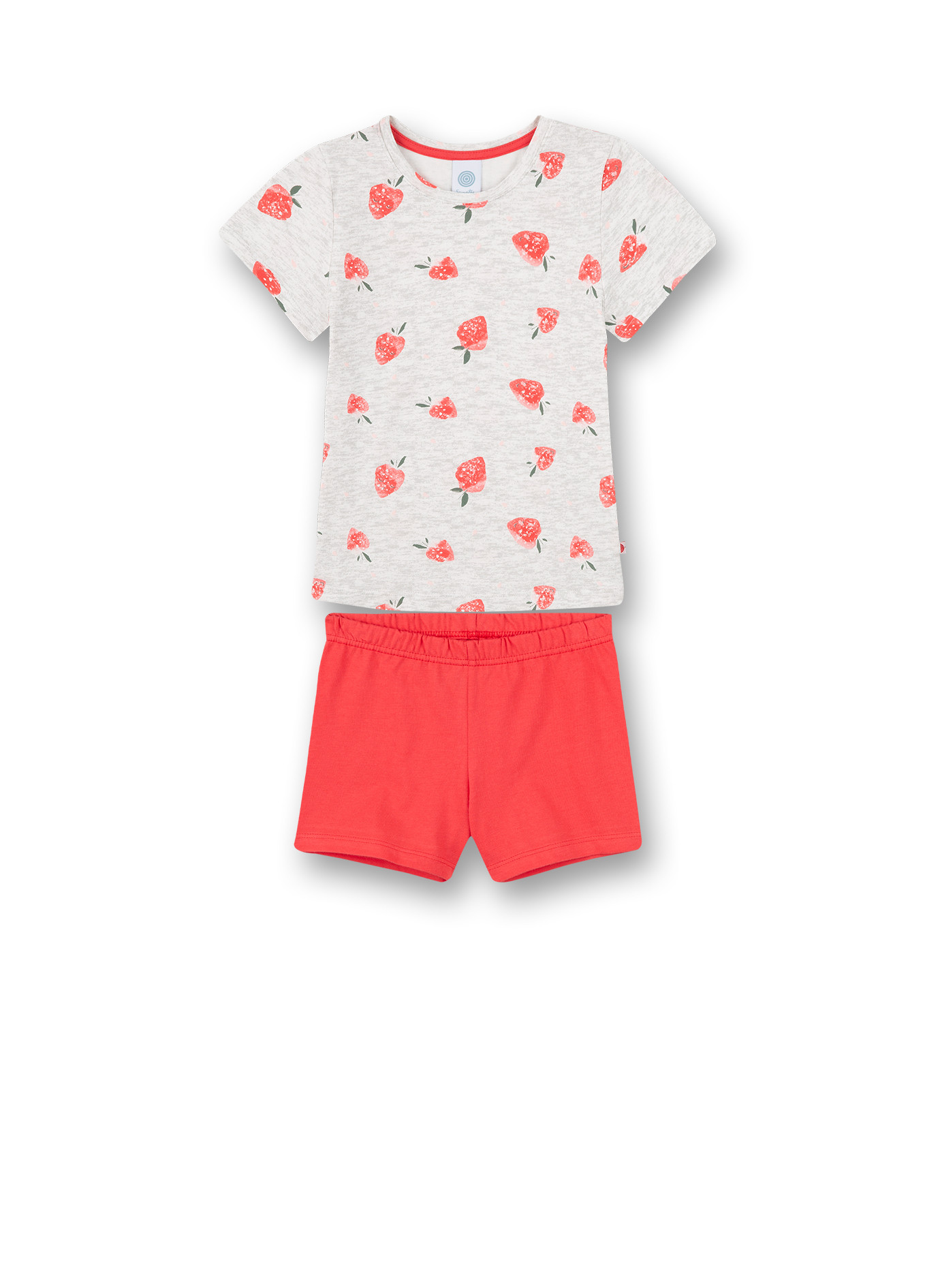 Sanetta Pyjama T-Shirt Aardebeien + Short Effen