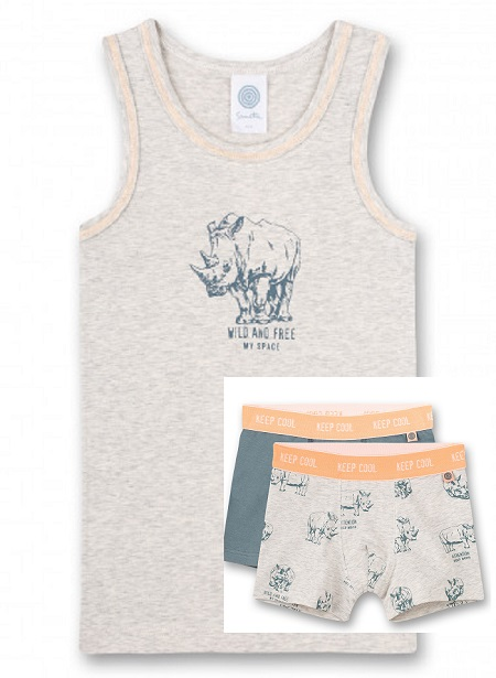 Sanetta Onderhemd Neushoorn + 2 Boxers effen-print