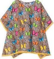 Saint Barth Kaftan Leopard, Gekleurde Vlinders