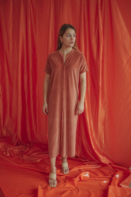 Love Sundaily Salaberry lang kleed korte mouw