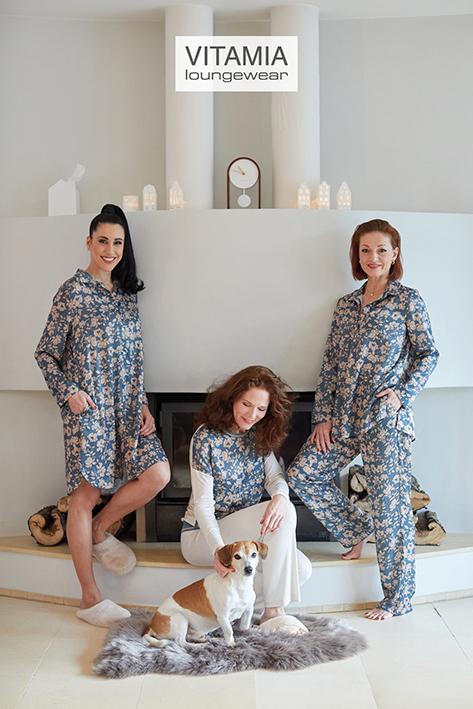 Vitamia Pyjama Bloemen, Effen Broek