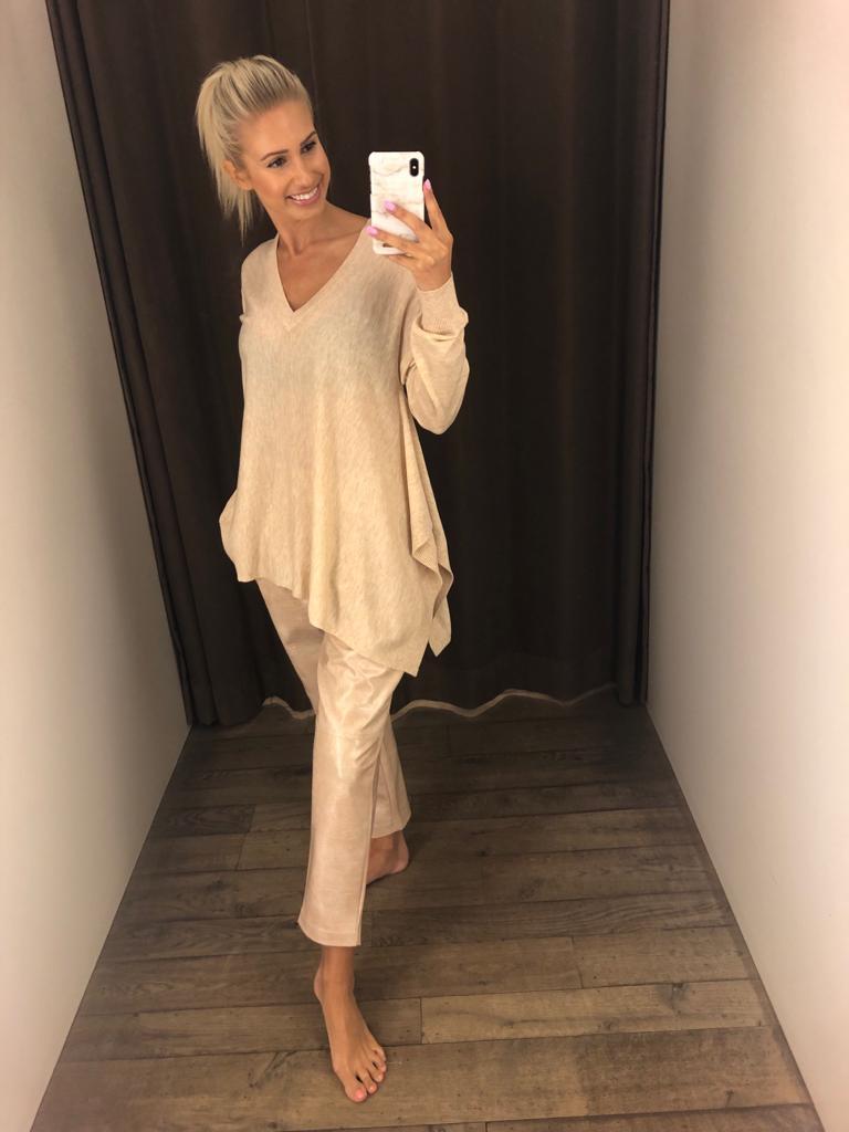 Twin-Set Sweater V-hals + broek leer krokodil