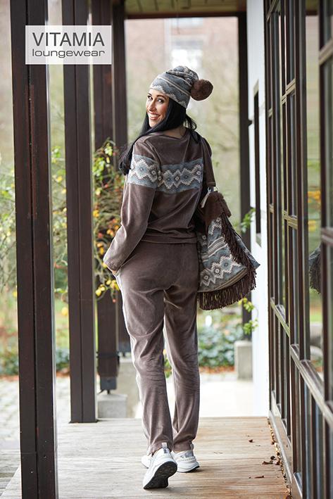 Vitamia Sweater Print + Broek Streep opzij, velour