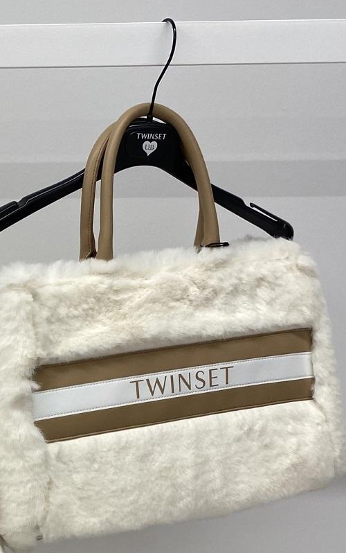 Twin-Set tas in namaakbont met handvaten in leder