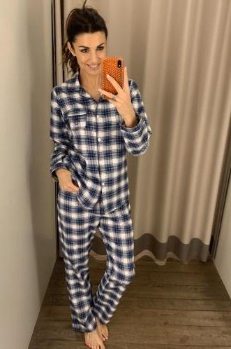 Cotolini Damespyjama Doorknoop, Geruit,lange broek