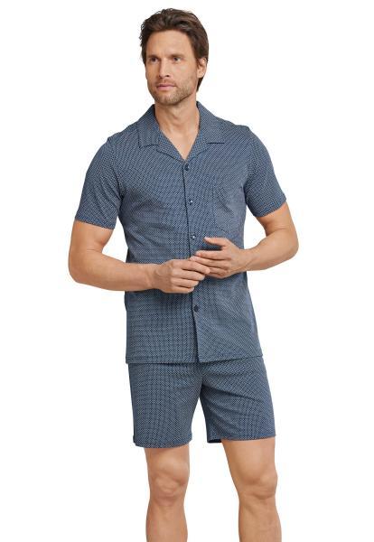 Schiesser Jeans Pyjama heren doorknoop