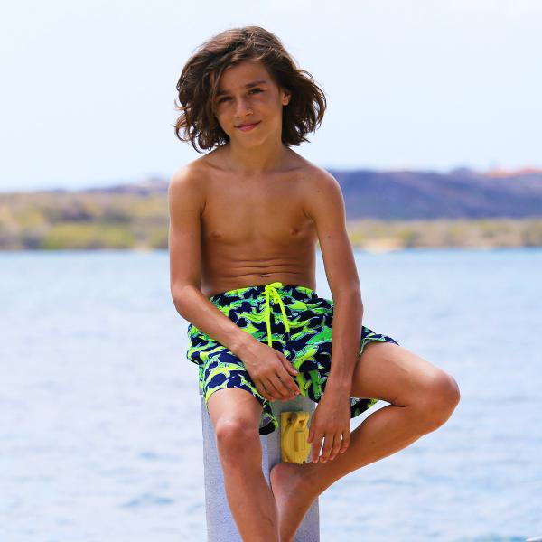 Sunuva Boys Navy Neon Shark Losse Zwemshort