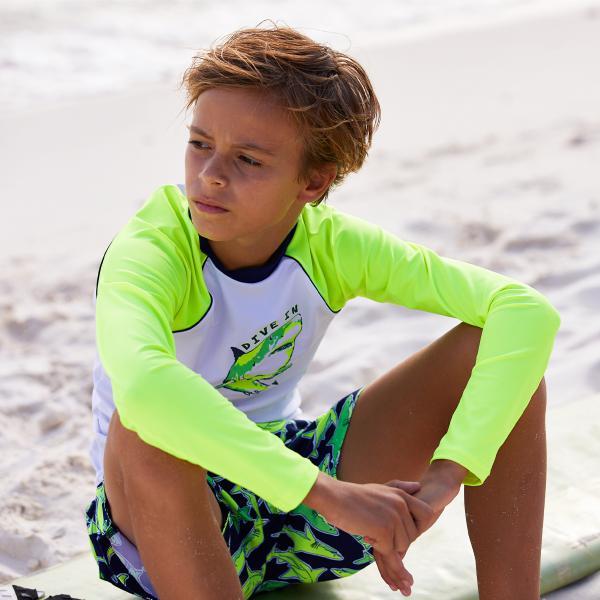Sunuva Boys White Neon Shark UV-vestje