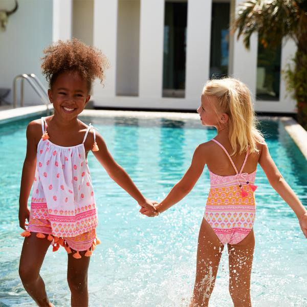 Sunuva Girls White/Neon Block print Short-Set
