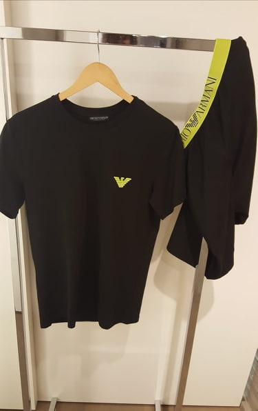 Armani Pyjama heren Fluo Tshirt+ Slaapshort