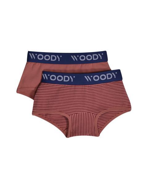 Woody Colours meisjesshort DUOpack strepen