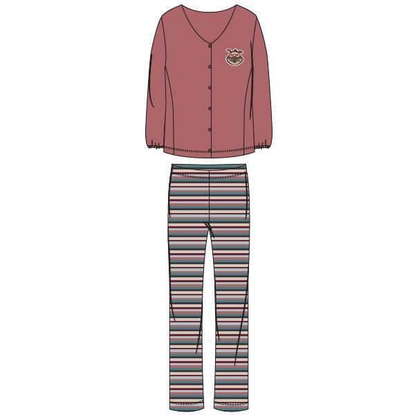 Woody Wolf Pyjama Dames doorknoop
