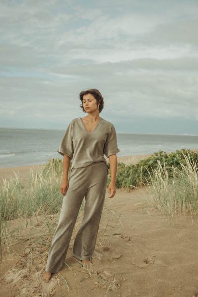 Love Sundaily Sweater V-Hals + broek in fluweel