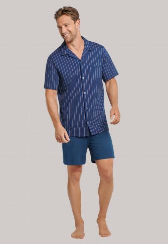 Schiesser Stripes Pyjama Heren doorknoop kort