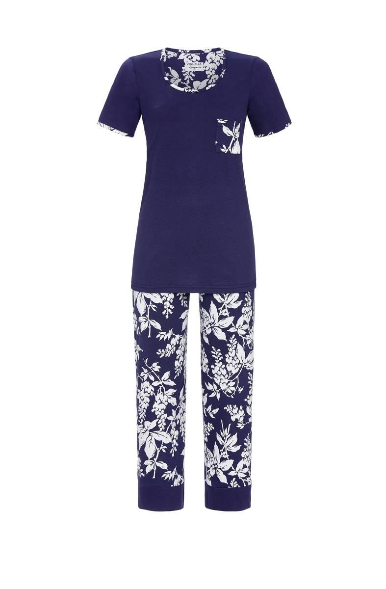 Ringella Flowers Pyjama Dames korte mouw+7/8 broek
