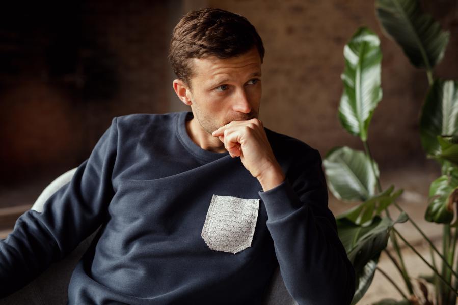 Sixtine's Pocket Blue Sweater Unisex